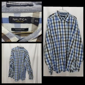 Nautica Classic Fit XXL Plaid Button Down